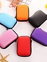 1 PC Soild Color Round Headphone Zipper Storage Bag