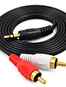 Audio jack de 3.5mm Cable, Audio jack de 3.5mm to 2RCA Cable Macho - Macho Cobre dorado 2,0 m (6.5 pies)