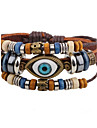 Men\'s Leather Bracelet Strand Bracelet Hip-Hop Personalized Leather Alloy Round Evil Eye Jewelry For Casual Stage