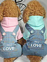 Dog Jumpsuit Dog Clothes Letter & Number Blue Pink Cotton Costume For Pets Men\'s Women\'s Casual/Daily