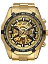 WINNER Муж. Наручные часы С автоподзаводом 30 m С гравировкой Нержавеющая сталь Группа Аналоговый На каждый день Мода Нарядные часы Золотистый - Золотой Белый Черный