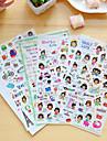 4 pcs / set cartoon girl diary sticker etiqueta de telefone adesivo scrapbook stickers
