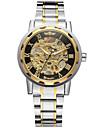 WINNER Herrn Armbanduhr Mechanische Uhr Automatikaufzug Edelstahl Silber 30 m Transparentes Ziffernblatt Cool Analog Luxus Retro Freizeit - Gold Schwarz