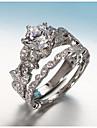 Női Kocka cirkónia Egymásra rakható Band Ring / Gyűrűk készlet - Réz, Ezüstözött Leaf Shape Koreai 5 / 6 / 7 Ezüst Kompatibilitás Eljegyzés / Ajándék