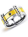 Herre To-tonet Band Ring Mode Moderinge Smykker Guld / Sort Til Daglig Formel 7 / 8 / 9 / 10 / 11