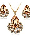 Women\'s Crystal / Synthetic Diamond Jewelry Set - Crystal, Imitation Diamond Drop Classic, Fashion, Elegant Include Stud Earrings / Necklace Dark Coffee / Pink For Engagement / Ceremony