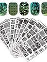 10/20 pcs Lace Stickers Nail Stamping Tool Sjabloon Bloem / Dier Modieus Design / Stickers / Magnetische Sticker Nagel kunst Manicure pedicure Stijlvol / Kant Feest / Avond / Dagelijks / Metaal