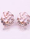 Women\'s Stud Earrings Rhinestone Classic Fashion Sweet Alloy Flower Jewelry White Black Daily Costume Jewelry