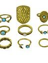Women\'s Knuckle Ring , 9pcs Gold Silver Imitation Tourmaline Alloy Moon Shield Metallic Rock Club Street Costume Jewelry