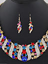 Women\'s Geometric Jewelry Set - Crystal Wave Fashion, Elegant Include Drop Earrings / Statement Necklace / Bridal Jewelry Sets Red / Blue / Champagne For Wedding / Evening Party