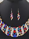 Mulheres Gema Cristal Conjunto de joias 1 Colar / Brincos - Elegant / Fashion Forma Geometrica / Ondas Vermelho / Azul / Champanhe