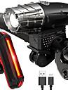 LED Φώτα Ποδηλάτου Επαναφορτιζόμενο σύστημα φωτισμού ποδηλάτου Μπροστινό φως ποδηλάτου Πίσω φως ποδηλάτου LED Ποδηλασία Αδιάβροχη Ελαφρύ Επαναφορτιζόμενη Μπαταρία 800 lm Επαναφορτιζόμενη Μπαταρία