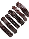 6pcs Men\'s Braided Stack Leather Bracelet Bracelet Set Leather Classic Cowboy Fashion Cool Bracelet Jewelry Black For Ceremony Casual Street