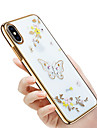 Custodia Per Apple iPhone X / iPhone 8 Con diamantini / Placcato / Decorazioni in rilievo Per retro Farfalla / Glitterato / Fiore decorativo Resistente PC per iPhone X / iPhone 8 Plus / iPhone 8