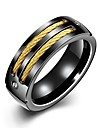 Rich Long 1kpl Gold Plated ruostumaton ulko- varten Musta / Miesten / Band Ring