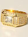 Homens Classico Fashion Anel - Imitacoes de Diamante Precioso Luxo, Classico, Fashion 7 / 8 / 9 / 10 / 11 Dourado Para Festa de Noite Encontro