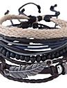 Herre Flettet Reb Wrap Armbånd Læder Armbånd Læder Fjer Vintage Europæisk Mode Armbånd Smykker Brun Til Daglig