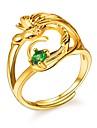 女性用 グリーン キュービックジルコニア 調節可能なリング  -  銅 鳥 レディース, ロマンチック, ファッション ジュエリー ゴールド 用途 婚約 贈り物 調整可
