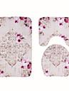 3 darab Modern Fürdőszoba gyékényszőnyegek 100 g / m2 Poliészter kötött sztreccs Virágminta Szabálytalan Imádni való