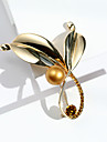 Women\'s Classic Brooches - Pearl, Rhinestone, Platinum Plated Leaf Ladies, Stylish, Korean Brooch Jewelry Gold / Gold / White / Silver / Black For Daily / Gold Plated