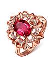 Γυναικεία Cubic Zirconia προσομοίωση Δαχτυλίδι Ρητίνη Χαλκός Στρας Κρεμαστό Λουλούδι κυρίες Ρομαντικό Γλυκός Κομψό Μοδάτο Δαχτυλίδι Κοσμήματα Χρυσό Τριανταφυλλί Για