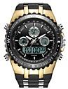 สำหรับผู้ชาย นาฬิกาแนวสปอร์ต นาฬิกาดิจิตอล ญี่ปุ่น นาฬิกาควอตซ์ญี่ปุ่น ยางทำจากซิลิคอน ดำ 30 m กันน้ำ ปฏิทิน noctilucent อะนาล็อก-ดิจิตอล แฟชั่น - สีดำและสีทอง เงิน / ดำ