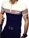 T-shirt Per uomo Attivo Collage, A strisce / Collage Rotonda - Cotone In bianco e nero / Manica corta / Taglia piccola