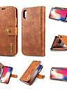 Custodia Per Apple iPhone XR / iPhone XS Max Porta-carte di credito / Resistente agli urti / Con supporto Integrale Tinta unita Resistente vera pelle per iPhone XS / iPhone XR / iPhone XS Max