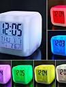 7 cores led mudando despertador digital mesa termometro noite brilhante cubo lcd relogio