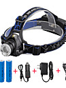 U\'King Headlamps Headlight LED LED 1 Emitters 2000 lm 3 Mode with Batteries and Chargers Zoomable Adjustable Focus Compact Size Camping / Hiking / Caving Everyday Use Cycling / Bike