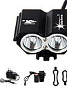 Čelovky Světla na kolo LED Cree® T6 2 Vysílače 3000 lm 4.0 Režim osvětlení s baterií a nabíječkou Voděodolné Dobíjecí Nouzová situace Cyklistika