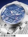 ASJ Men\'s Digital Watch Japanese Digital Silver 100 m Water Resistant / Waterproof Alarm Calendar / date / day Analog Fashion - White Blue One Year Battery Life