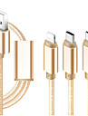 Micro USB / Lightning / Type-C Cable 1m-1.99m / 3ft-6ft All-In-1 / Braided / 1 to 3 Textile USB Cable Adapter For iPad / Samsung / Huawei